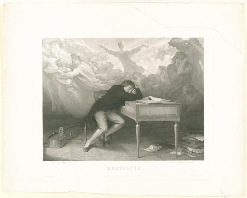 Lemud, A de: Beethoven, am Klavier schlafend, mit Frauenfiguren - Stich, 1863