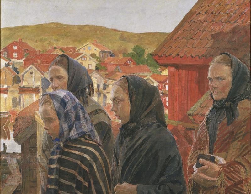 Carl Wilhelmson: Fiskarkvinnor på väg från kyrkan. NM 1570