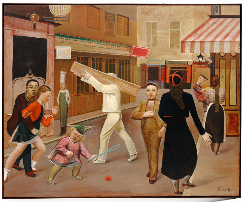 Balthus (1908-2001): The Street. 1933.. New York, Museum of Modern Art (MoMA) Oil on canvas, 6' 4 3/4 x 7' 10 1/2 (195 x 240 cm). James Thrall Soby Bequest. 1200.1979*** Permission for usage must be provided in writing from Scala. May have restrictions - please contact Scala for details. ***
