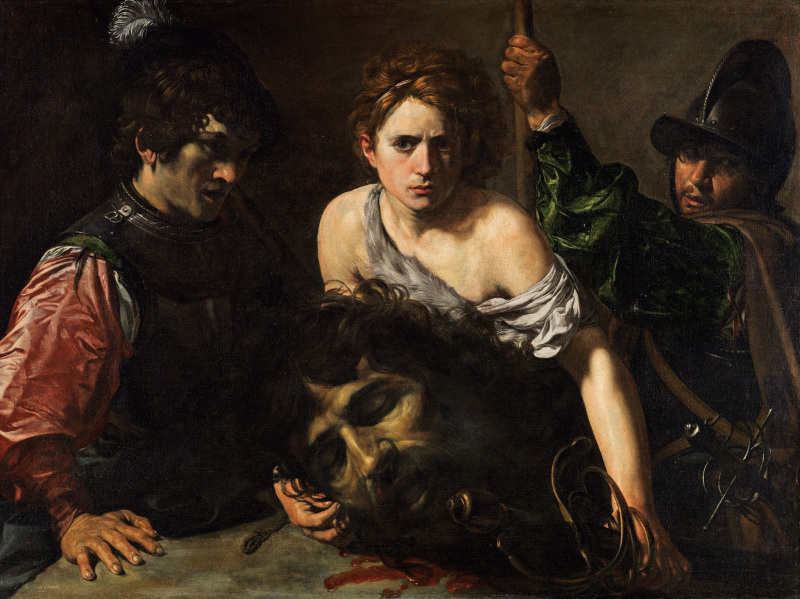 Valentin de Boulogne (1594-1632): David With the Head of Goliath and Two Soldiers, c.1620-1622. Madrid, Musée Thyssen-Bornemisza