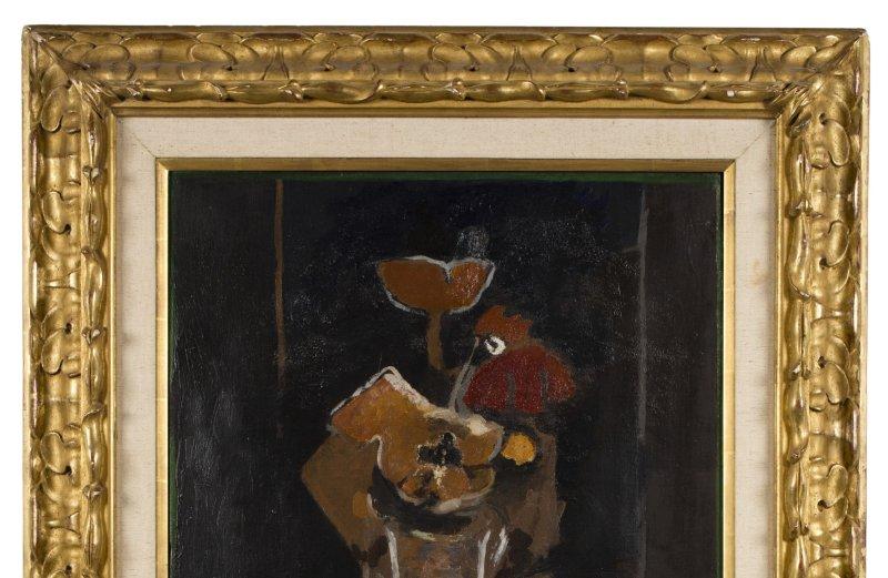 Braque, Bouquet de fleurs a la nappe rose