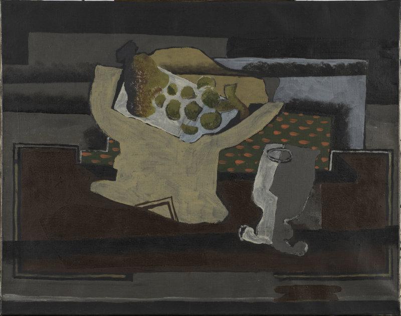 Braque, Compotier avec grappe de raisin et verre, 1919