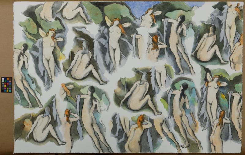 Henri Cueco, (né en 1929 à Uzercche) - D'après Cézanne, Les Baigneuses