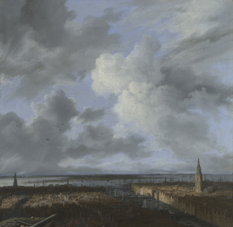 Jacob van Ruisdael, Vue sur Amsterdam, du port et de l'If vers 1665-1670 Huile sur toile 41,5x40,7 cm ©Collection particulière en prêt à la National Gallery FONDATION CUSTODIA