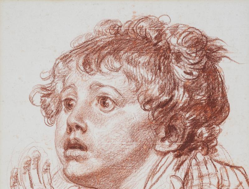 Jean-Baptiste Greuze, Tête d'enfant regardant avec effroi Sanguine sur papier beige contre-collé en plein sur carton 42,1x31,8 cm Ecole des Beaux Arts