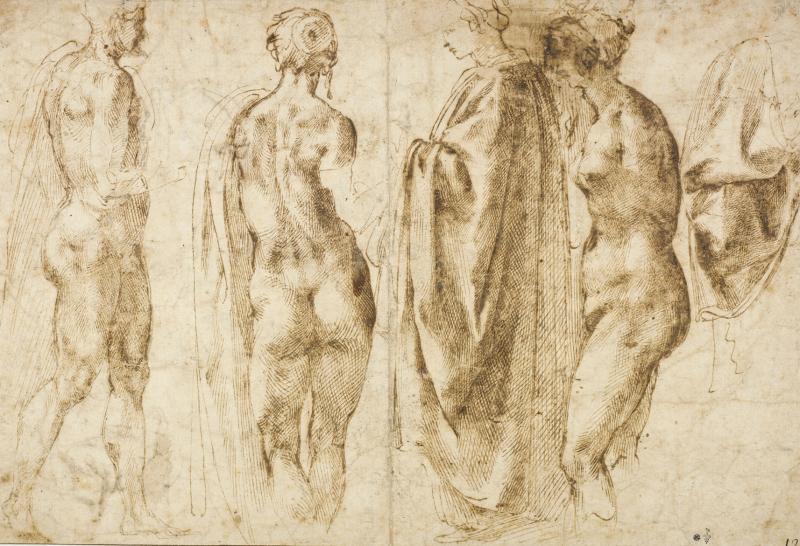 MICHEL-ANGE Groupe de quatre figures debout et un drapé, Plume, encre brune et encre grise RMN Michel Urtado - Domaine de Chantilly
