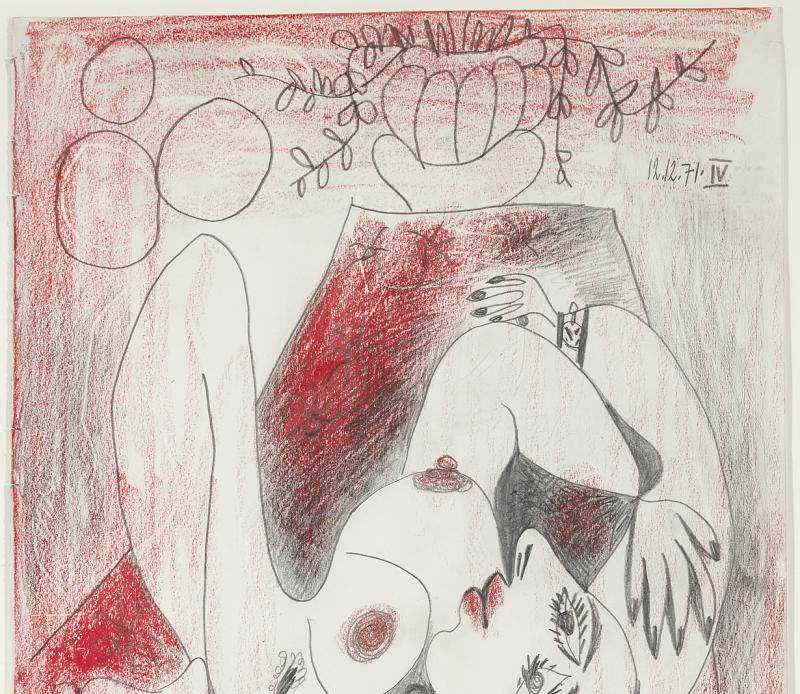 Pablo_Picasso_Femme_et_Fleurs_1971,_plume_et_crayon_rouge_sur_papier,_36,5x31,5cm_Reginart_Collections[1]