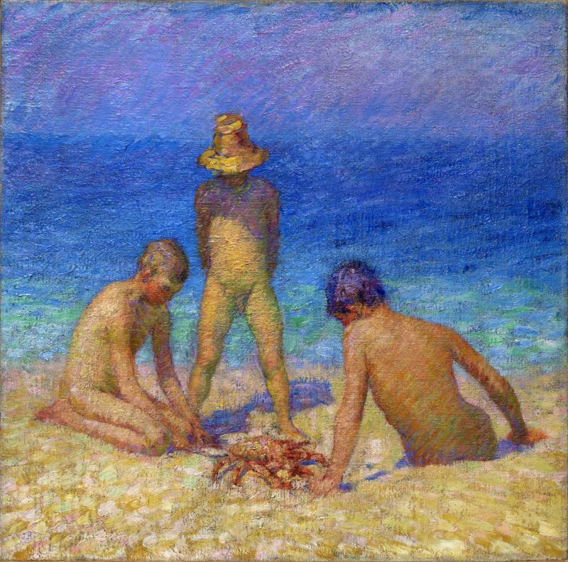 RUSSEL John Peter Fils du peintre jouant avec un crabe - Portraits et figures - Musee de Morlaix