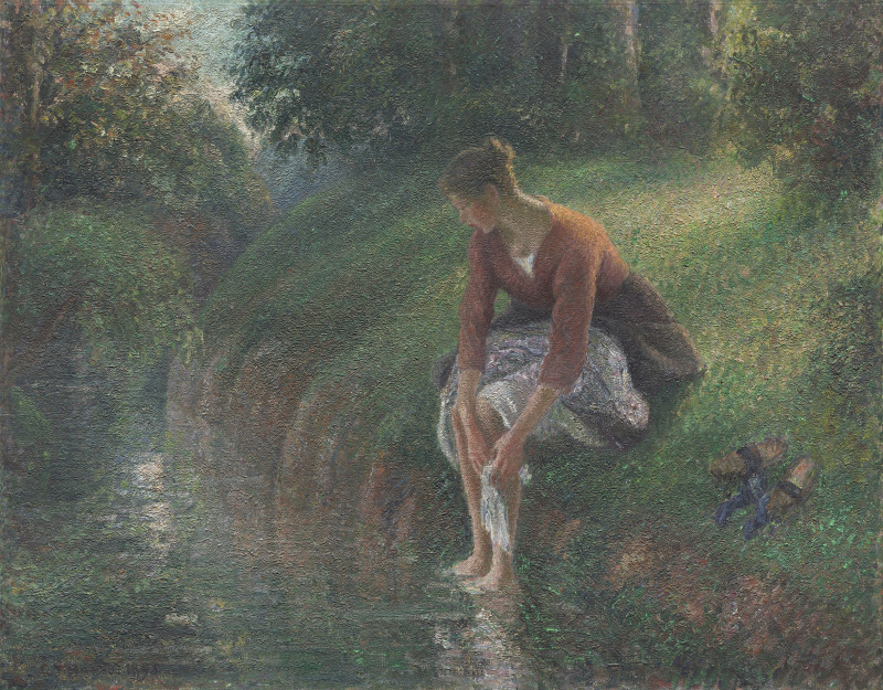 Camille Pissarro<br>French, 1830-1903<br>Woman Bathing Her Feet in a Brook, 1894/95<br>Oil on canvas<br>73 x 92 cm (28 1/2 x 36 in.)<br>A Millennium Gift of Sara Lee Corporation<br>1999.364<br>The Art Institute of Chicago