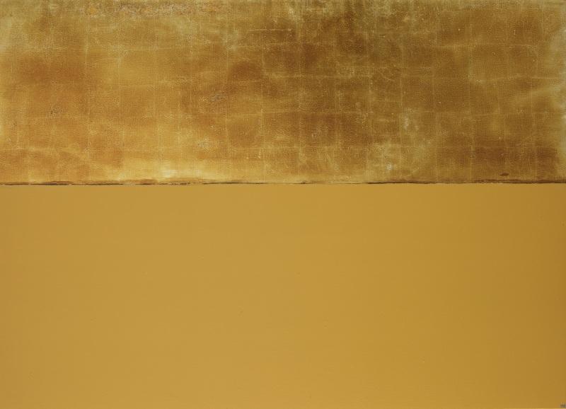 Anna-Eva Bergman, 1975 Terre ocre avec ciel doré, 1985_Acrylique et feuille de métal sur toile, - Domaine de Kerguehennec - Bignan