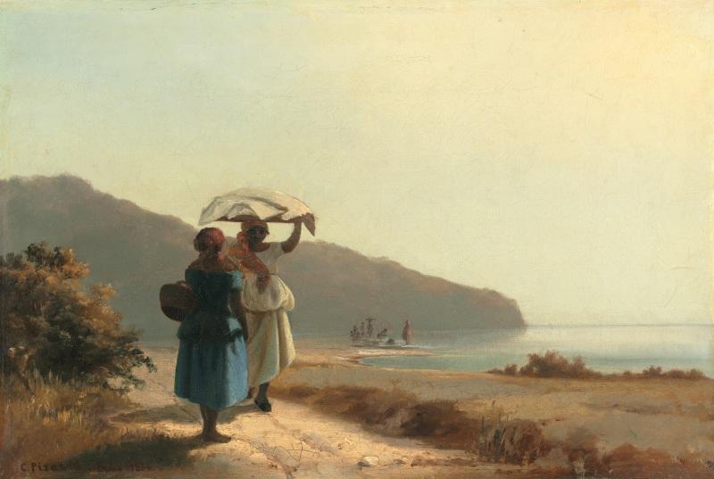 Deux femmes causant au bord de la mer Saint Thomas, Camille Pissarro