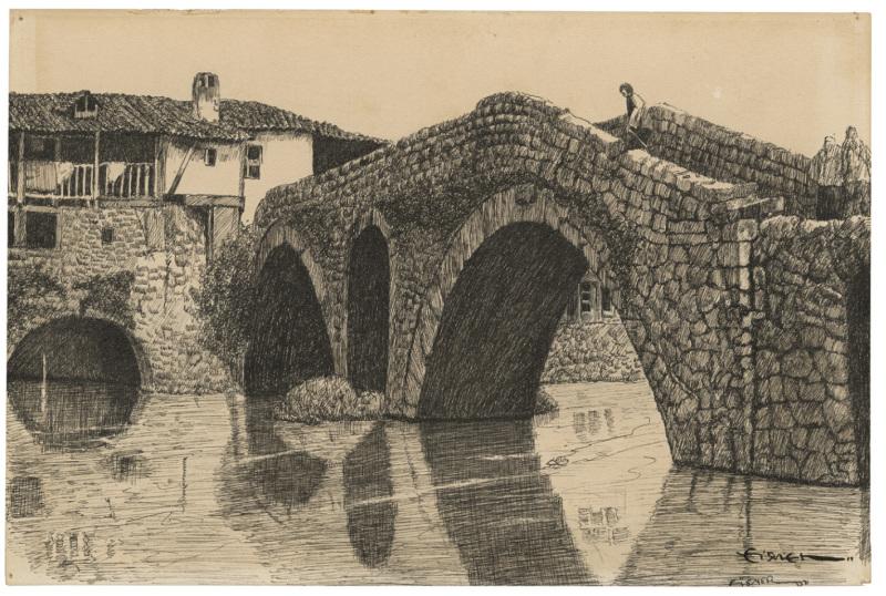 Dessin d'un pont d'Italie - Will Eisner - Cite Internationale de la Bande Dessinee - Angouleme