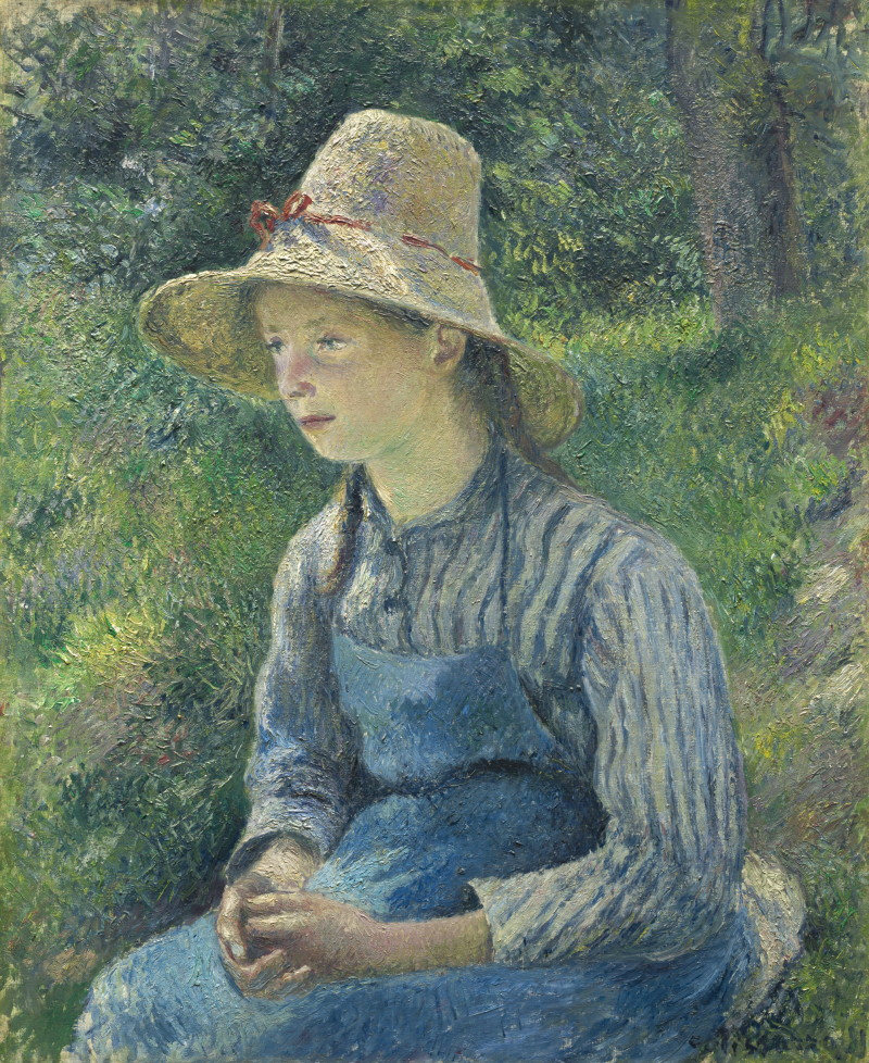 Camille Pissarro (French, 1830 - 1903 ), Peasant Girl with a Straw Hat, 1881, oil on canvas, Ailsa Mellon Bruce Collection
