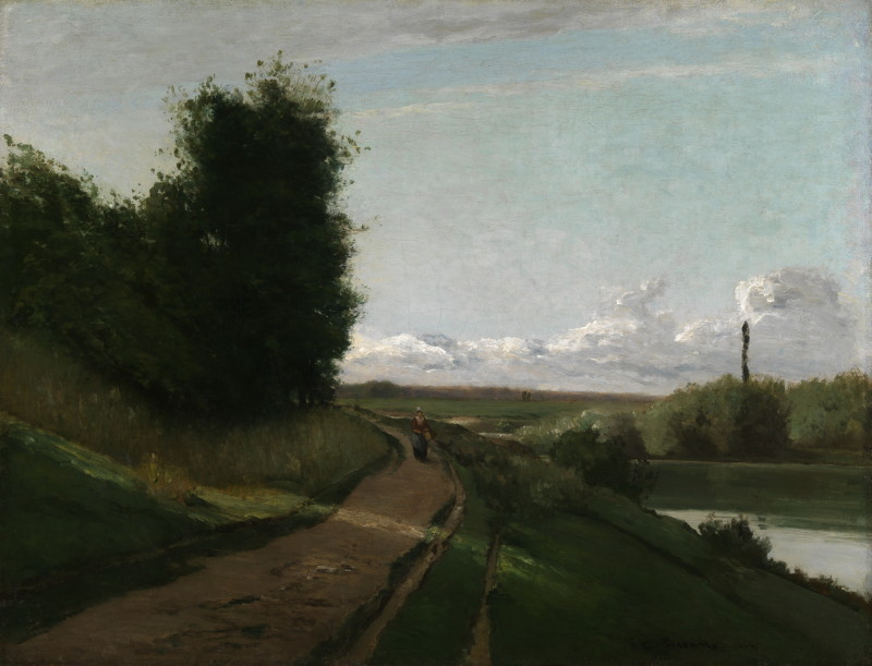The Banks of the Marne Pissarro, Camille Jacob (1830 - 1903, French) 1864 oil on canvas French unframed: 819 x 1079 mm; framed: 1060 x 1315 mm  Painting entitled 'The Banks of the Marne', by Camille Pissarro, 1864