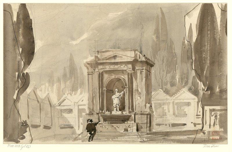 P.-L.-C. Cicéri, Projet de décor pour Don Juan (Acte 4, t.2), 1834 –Dessin