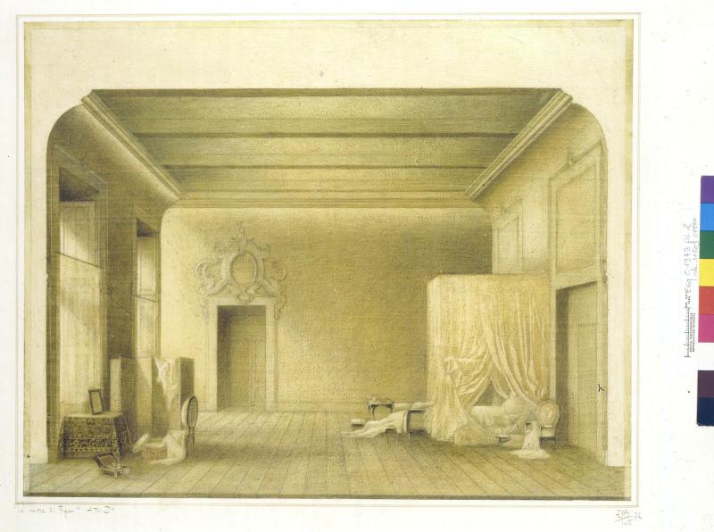 Frigerio Ezio, Esquisse de décor pour Le Nozze di Figaro : la chambre de la comtesse, 1973. Dessin