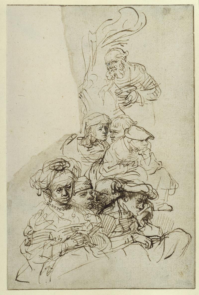 Feder und wenig Pinsel in Braun auf Papier, an zwei kleinen Stellen Bleiweiß (um 1634/35) von  <BR> Rembrandt [15.07.1606 - 04.10.1669]  <BR> Blattmaß 16,7 x 19,5 cm <BR> Inventar-Nr.: KdZ 5243 <BR> Person: Rembrandt Harmensz van Rijn [1606 - 1669], Niederländischer Maler <BR> Systematik:  <BR> Personen / Künstler / Rembrandt / Werke, Artist: Rembrandt