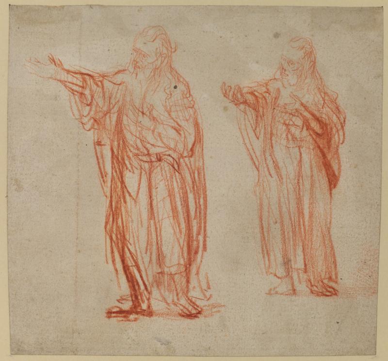 Rembrandt Harmensz van Rijn (1606–1669), Deux études de saint Jean pour le « Saint Jean-Baptiste prêchant »