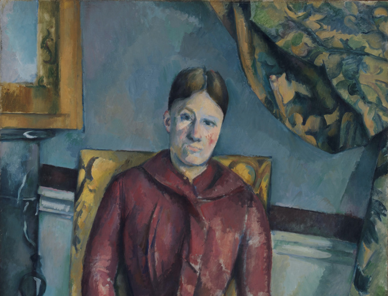 Paul Cézanne (French, Aix-en-Provence 1839–1906 Aix-en-Provence) Madame Cézanne (Hortense Fiquet, 1850–1922) in a Red Dress, 1888–90 Oil on canvas; 45 7/8 x 35 1/4 in. ( 116.5 x 89.5 cm) The Metropolitan Museum of Art, New York, The Mr. and Mrs. Henry Ittleson Jr. Purchase Fund, 1962 (62.45) http://www.metmuseum.org/Collections/search-the-collections/435876