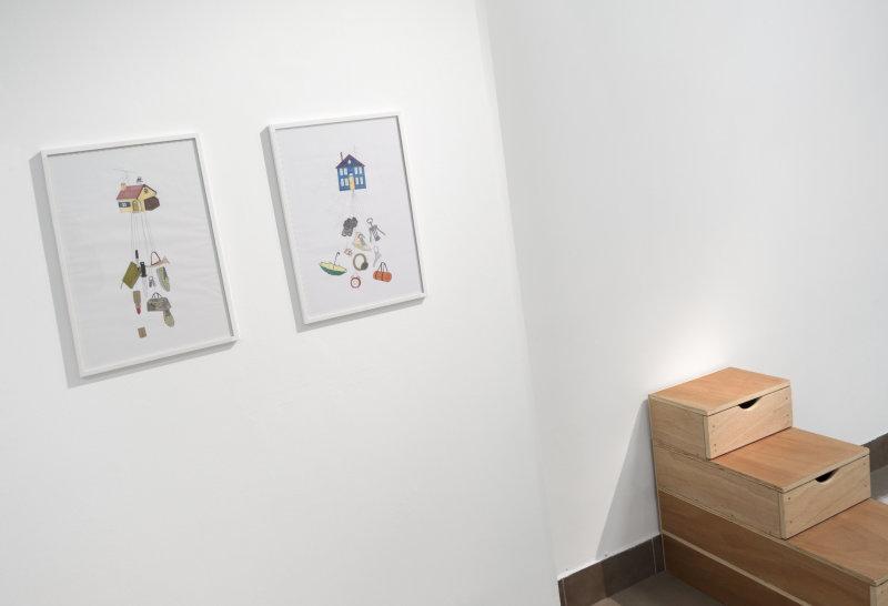 Dessins et escalier, Jeanne Susplugas, At Home she's a tourist, Galerie VivoEquidem
