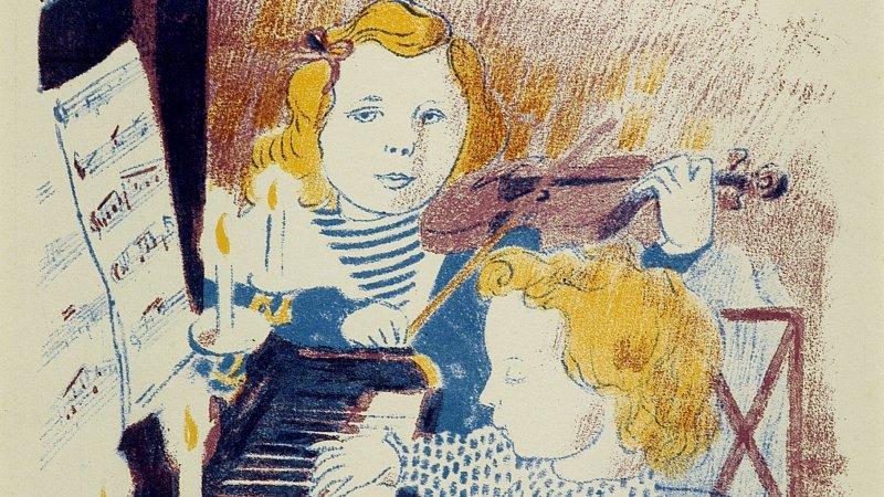 Maurice Denis (1870-1943) Frontispice pour Les Concerts du petit frère et de la petite sœur, 1903 - exposition Tintamarre - Musée des Impressionnismes, Giverny