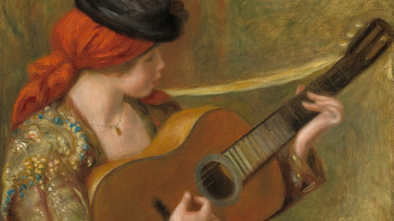 Auguste Renoir, Young Spanish Woman with a Guitar, French, 1841 - 1919, 1898, oil on canvas, Ailsa Mellon Bruce Collection
