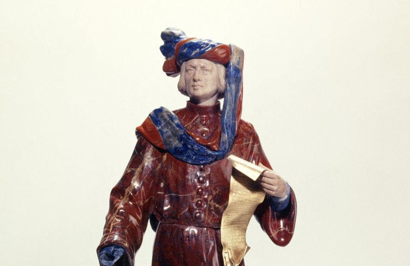 Georges Lemaire. Etienne Marcel. Jaspe rouge, agate mousseuse, lapis, jaspe du Congo, croûte d'opale, argent doré. Musée des Beaux-Arts de la Ville de Paris, Petit Palais.