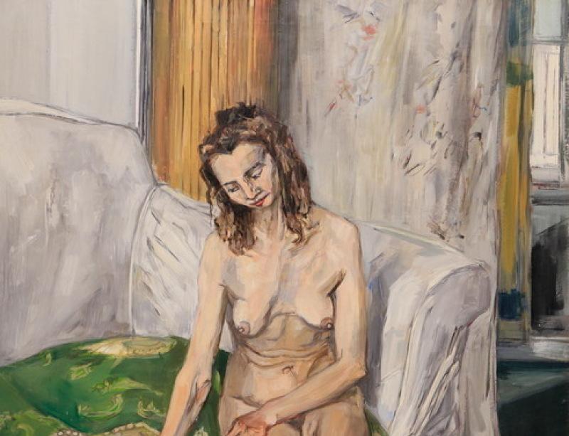 Femme assise au canapé vert, 1946, Gruber