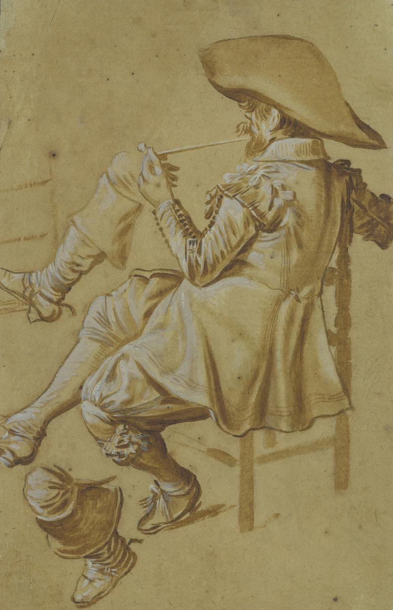 Dirck Hals (1591-1656), Études d'un homme assis, fumant la pipe, et de deux jambes, 1622-1627