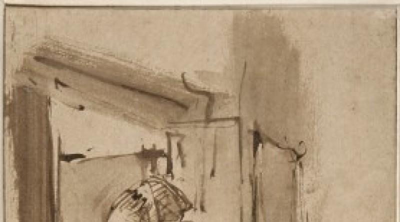 Rembrandt, Femme à la fenêtre. Plume et encre brune, lavis brun. Paris, musée du Louvre, département des Arts graphiques