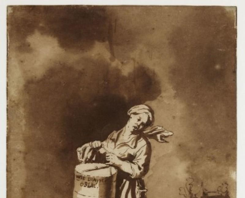 Cornelis Dusart, La Marchande d'oublies. Plume et encre brune, lavis brun. Beaux-Arts de Paris
