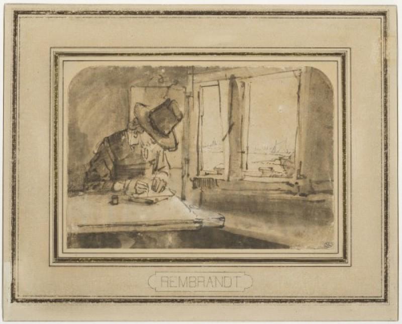 Rembrandt, Jeune homme écrivant ou dessinant près d'une fenêtre donnant sur l'IJ. Plume et encre brune, lavis brun. Paris, musée du Louvre, département des Arts graphiques