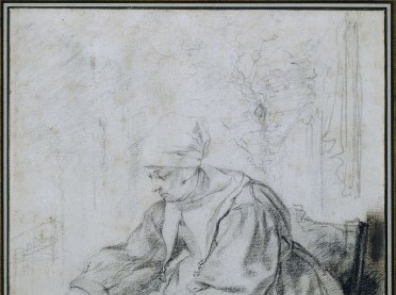 Gabriel Metsu, La Faiseuse de crêpes. Pierre noire. Paris, Petit Palais (Musée des Beaux-Arts de la Ville de Paris)