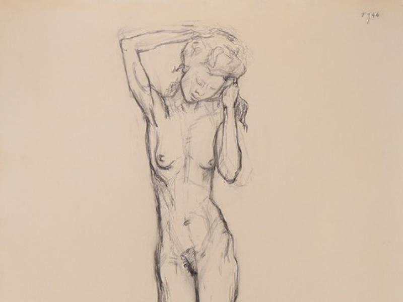 Q, Gruber, Nu debout les mains dans les cheveux, 1944, dessin,