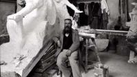 LRS164975   Credit: Auguste Rodin (1840-1917) seated beside his work in his studio (b/w photo) by Dornac (Paul Francois Arnold Cardon) (1859-1941)  Archives Larousse, Paris, France/ Giraudon/ The Bridgeman Art Library  Nationality / copyright status: French / in copyright until 2012  PLEASE NOTE: This image is protected by the artist's copyright which needs to be cleared by you. If you require assistance in clearing permission we will be pleased to help you.  ADDITIONAL USAGE RESTRICTION: ADDITIONAL ROYALTY REQUIRED: Extra 50% of Reproduction Fee