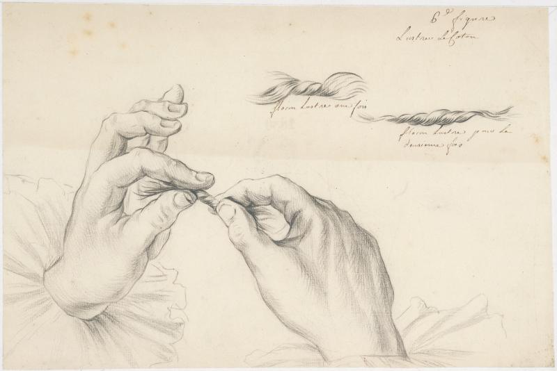 Manipulation du coton, fin 18è siècle.  Le dessin montre le geste des mains qui pratiquent l'opération du peignage et de lustrage Papier vergé filigrané Van der Ley. Textile / Filature / Geste / Gestualité