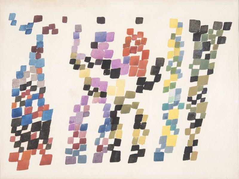Sophie Taeuber-Arp (1889-1943) Tâches quadrangulaires évoquant un groupe de personnages, 1920.