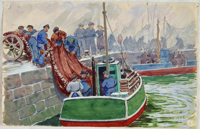 Saint-Guénolé40 x 31.2 - Mine de plomb, aquarelle, papier (blanc) - 1952