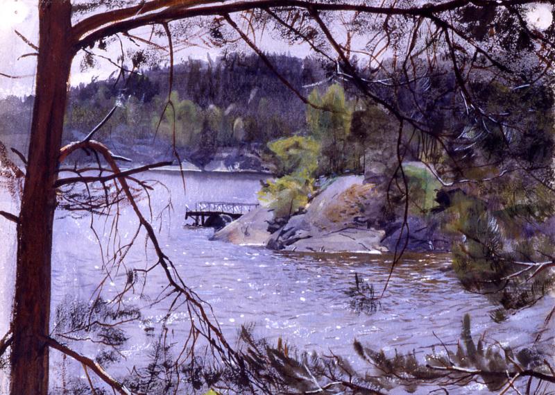 Anders Zorn, Kyrkviken, Lidingö, aquarelle 1883. Musée Zorn, Mora, Suède