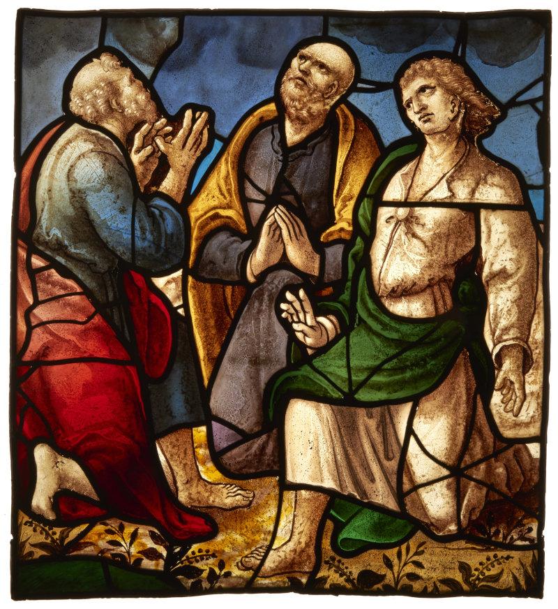 Vitrail : Ascension ? Transfiguration ? Vitrail, grisaille, jaune d'argent Début du 16e siècle
