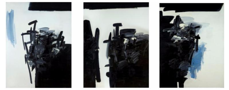 André Marfaing, triptyque Peintures et lavis, MBA Carcassonne