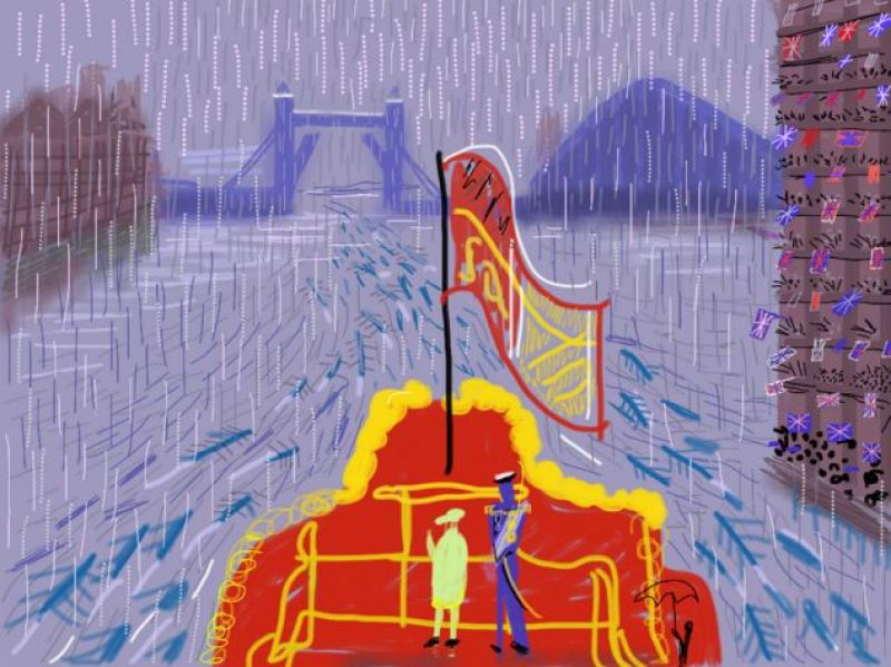 The Queen and Prince Philip on The Spirit of Chartwell in the rain at the Thames River Pageant on Sunday 3 June 2012 by David Hockney - title