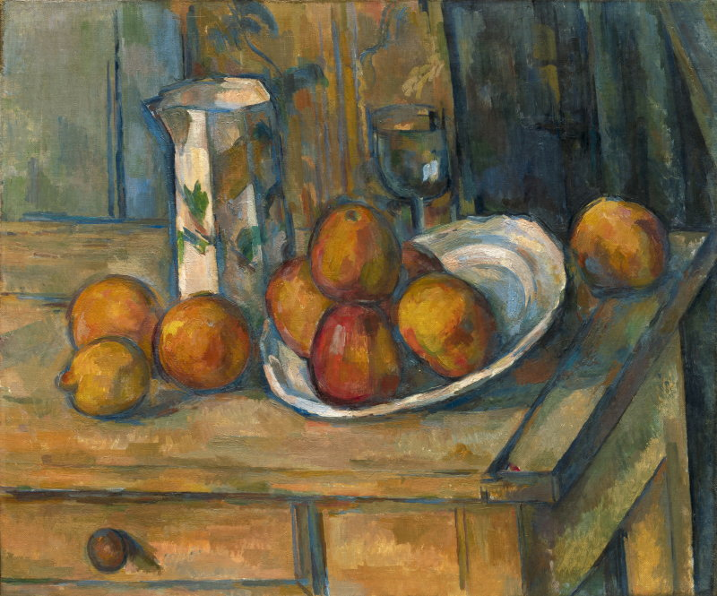 Paul Cézanne, Still Life with Milk Jug and Fruit, French, 1839 - 1906, c. 1900, oil on canvas, Gift of the W. Averell Harriman Foundation in memory of Marie N. Harriman