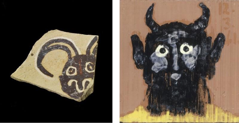 Tesson et Carreau décordé d'une tête de faune, Picasso Primitif, Quai Branly