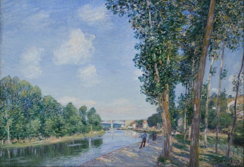 Sisley, À Saint Mammès (confluence du Loing et du canal du Loing), 1892, Hôtel Caumont