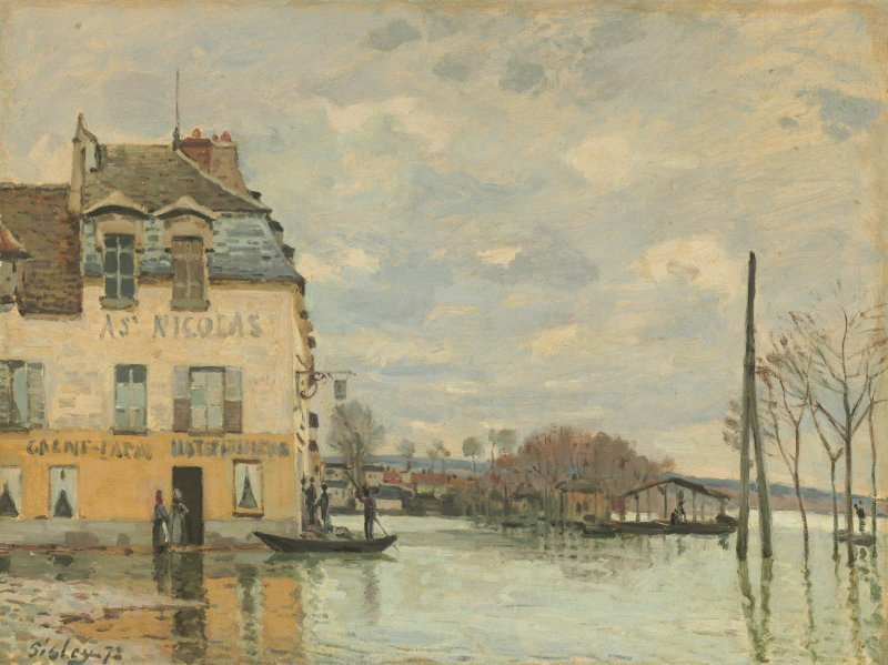 Alfred Sisley, Flood at Port-Marly, French, 1839 - 1899, 1872, oil on canvas, Collection of Mr. and Mrs. Paul Mellon