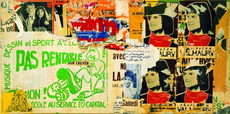 Jacques VILLEGLÉ (1926 - ) Rue de la Quintinie, 4 juillet 1972 Affiches lacérées marouflées sur toile 81 x 162 cm Collection particulière