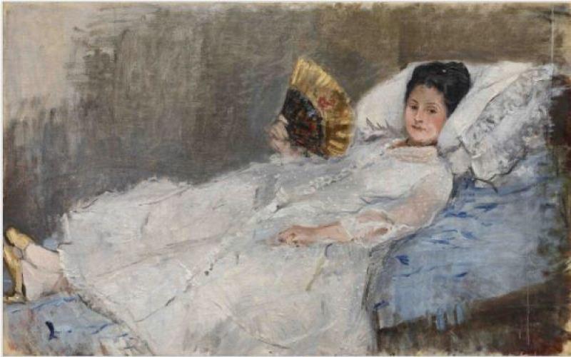 Berthe Morisot, Femme à l'éventail. Portrait de Madame Marie Hubbard, 1874 - Le jardin secret des Hansen, la collection Ordrupgaard au Musée Jacquemart-André