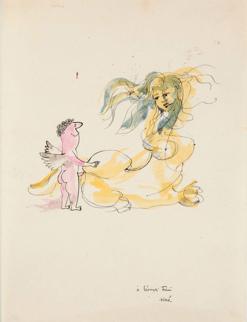 Leonor Fini et Sine, Encre de Chine et Aquarelle, 1958 - Leonor Fini à la Galerie Minsky