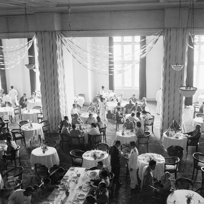 Lunch at Imperial Hotel, New Delhi, cica 1960For MEP - Hi Res Photo by: RICHARD BARTHOLOMEWPhoto credit: RICHARD BARTHOLOMEWAll rights reserved. For permission and licensing rights: PLEASE CONTACT: pablo@bartholomew.tvOr by cellphone +91 98100 14131